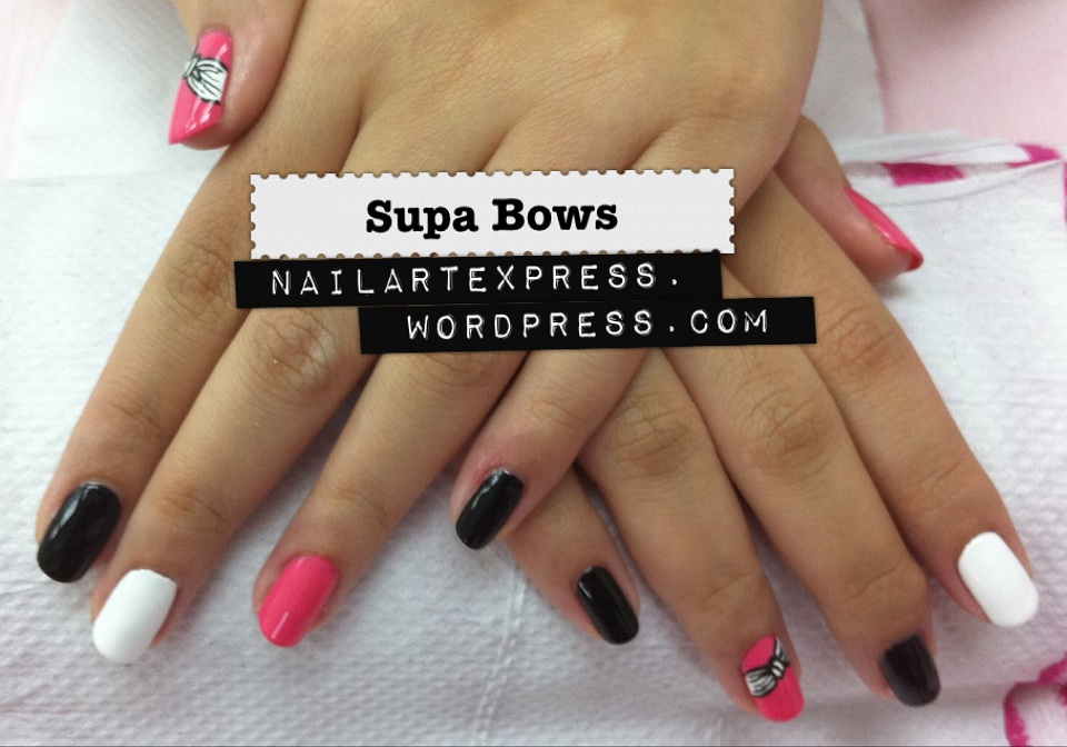 Hot pink and white nail designs images nail art and nail design black white and pink nail designs images nail art and nail black white and hot pink prinsesfo Gallery