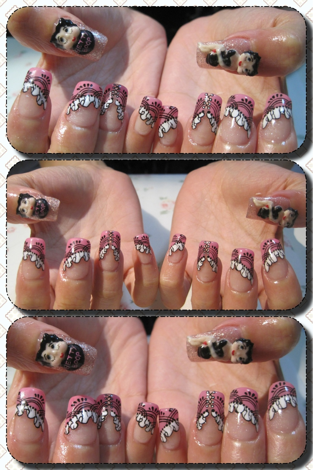 Acrylic Extensions Gel Mani Betty Boop Bridal Nails