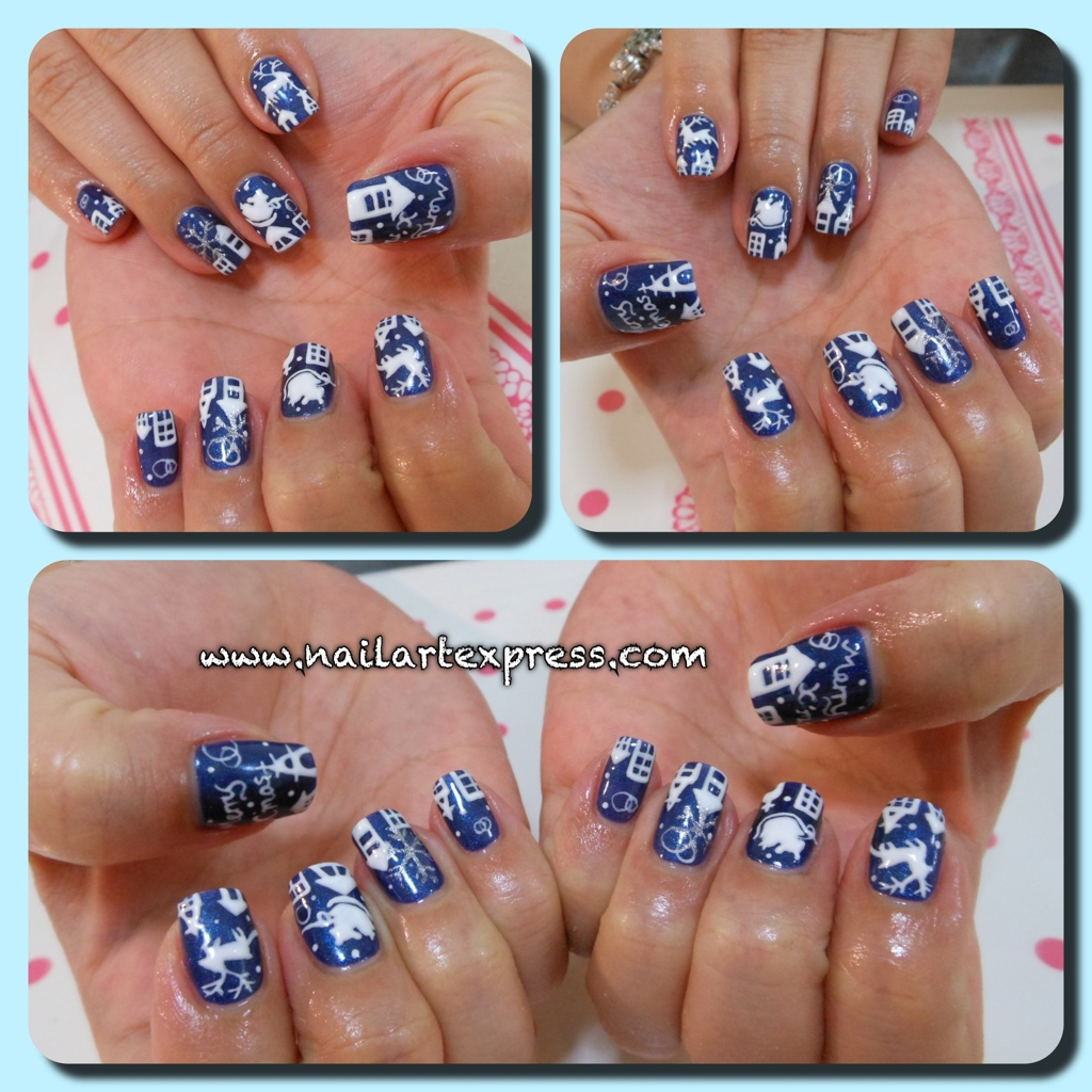 Gelish nailartexpress gelish blue christmas x silhouettes prinsesfo Choice Image