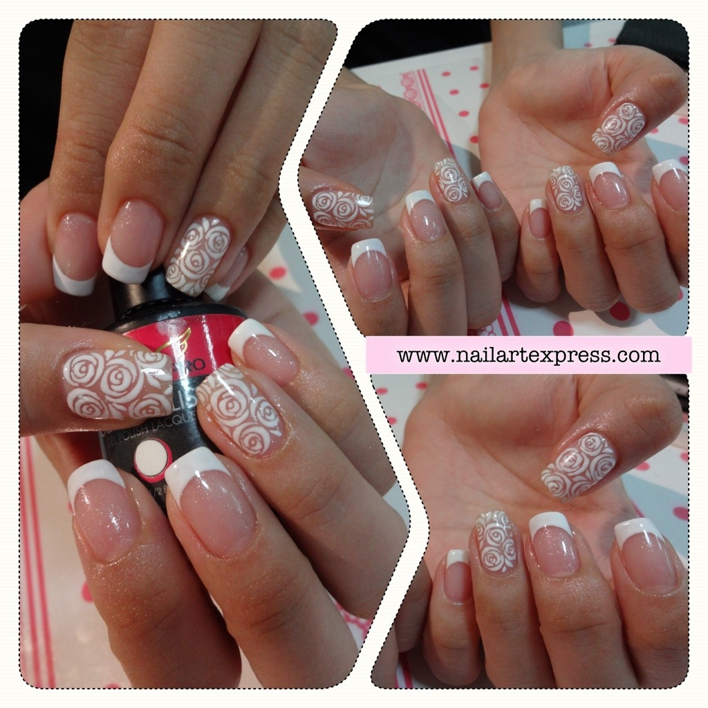 Gel Mani White Roses Nailartexpress