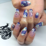 Gel Mani: Colourful Abstract Florals x Crushed Shells